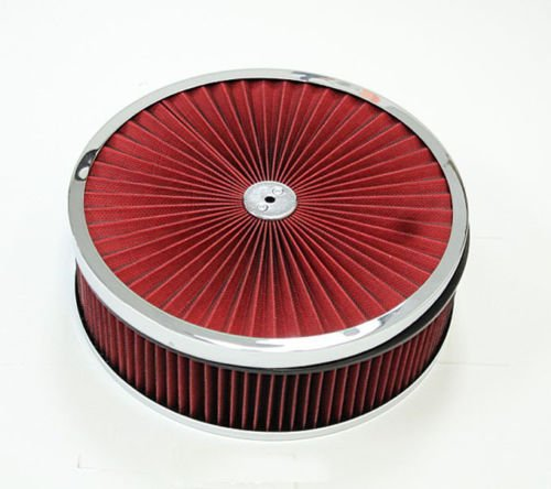 """14""""x 3'' Chrome Breather Washable Air Filter Cleaner Reusable Oiled Ford SBC BBC"""