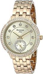 Armitron Women's 75/5234CHGP Swarovski Crystal Accented Gold-Tone Bracelet Watch