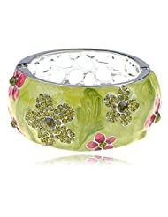 Pearly Pearlescent Pink Peridot Crystal Rhinestone Stone Flower Bracelet Bangle