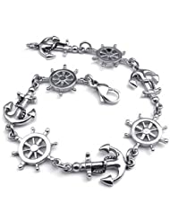 Konov Jewellery Vintage Stainless Steel Love Anchor & Helm Charms Unisex Women's Men's Bracelet, Color Silver...