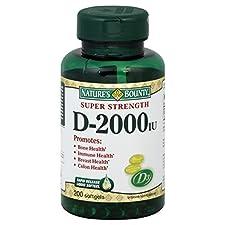 Natures Bounty Vitamin D, Super Strength, 2000 IU, Softgels, 200 softgels