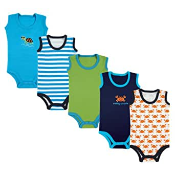 Luvable Friends Sleeveless Bodysuits Boy 5-Pack, 0-3 Months