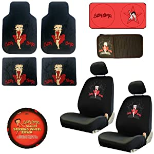 Auto Accessories Interior Exterior Combo Kit Gift Set 11pc Low Back Betty Boop