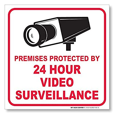 "Premises Protected By 24 Hour Video Surveillance Sign - 5 ½"" X 5 ½"" - 4 Pack Self Adhesive 4 Mil Vinyl Decal"