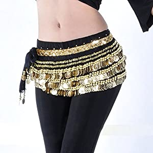 Jiang Bo Belly Dance Dancing Hip Scarf Skirt Wrap Costumes Gold Coins Belt velvet