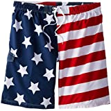 Kanu Surf Men's Big American Flag Extended Size Swim Trunks, Flag, 2X