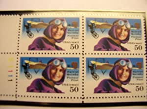 US Postage Stamps, 1991, Harriet Quimby, S# C128, Plate Block of 4 50 Cent Stamps, MNH