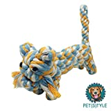 Teeth Cleaning Cotton Rope Dog Toy (Blue/Yellow/White)