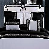 7pc Hotel Style Greek Key Black and White Microfiber Duvet Cover Set Full/Queen