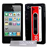 Noire Et Rouge Rtro Cassette Style Silicone Coque Etui Pour Apple iPhone 4 4Spar Jupiter
