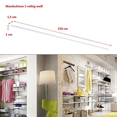 Regalsystem Wandschiene Wandleiste 1 und 2-reihig Stahl Haushaltsregal Metallregal Schraubregal weiß 1-reihig-150cm