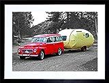 1961 RED VOLVO DUETT WITH RETRO CARAVAN PHOTO ART FRAMED ART PRINT PICTURE & MOUNT MOUNT F12X029