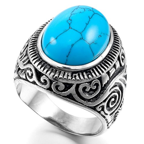 Men'S Stainless Steel Ring Turquoise Silver Blue Biker Unique Size10