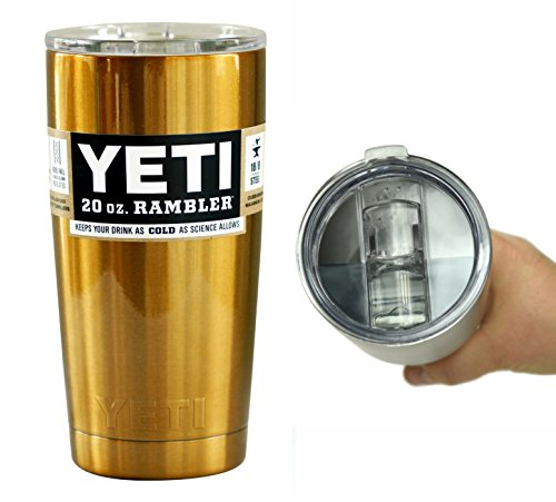 Yeti Coolers 20 oz (20oz) Powder Coated Rambler Tumbler Cup with Extra Spill Proof Lid - Keeps your 20oz drink cold or hot for hours (Gold)