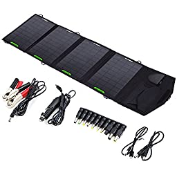 ALLPOWERS 18V 14W Solar Panel Charger(5V USB with iSolar Technology+18V DC Output) Portable Car Charger for 12V Car Battery, Laptop below 18V1A, Tablet, ipad mini, ipod, apple, iphone, Samsung,ect