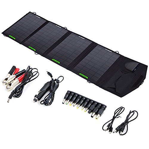 ALLPOWERS 18V 14W Solar Panel Charger(5V USB with iSolar Technology+18V DC Output) Portable Car Charger for 12V Car Battery, Laptop below 18V1A, Tablet, ipad mini, ipod, cell Phone, iphone, Samsung,ect