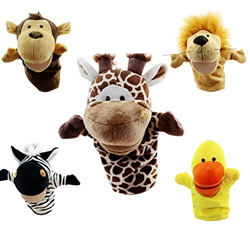 Yantu Cartoon Animal Hand Puppet Soft Plush Puppets Baby Toys GIRAFFE