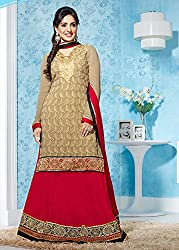 Bewitching Beige and Red Lehenga Kameez Semi Stitched Material