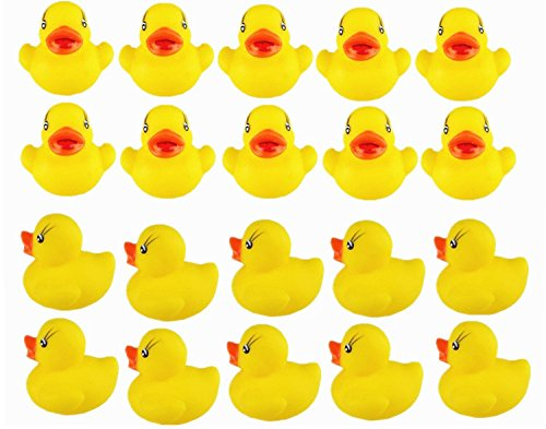 viskey 20pcs yellow ducks baby bath tub bathing rubber squeaky toys toddler. Black Bedroom Furniture Sets. Home Design Ideas