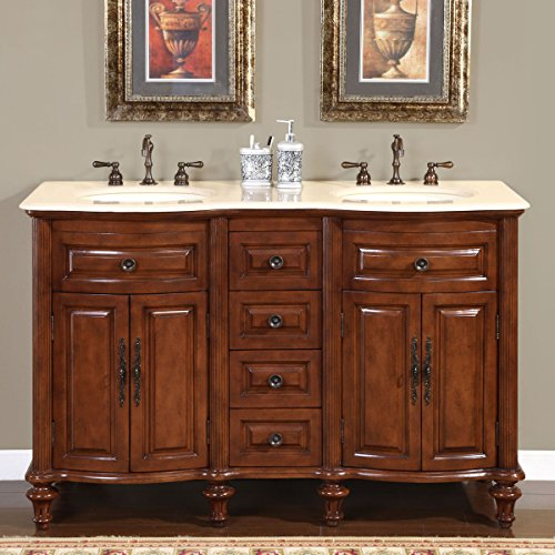 Silkroad-Exclusive-Marble-Stone-Top-Double-Sink-Bathroom-Vanity-with-Cabinet-55-Inch