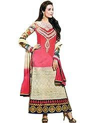 Exotic India Camellia-Rose And Ivory Malaika Long Choodidaar Kameez Suit - Pink