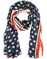 Demarkt Stylish Stars and Stripes Print USA Flag Pattern Scarf Shawl Women Chiffon Scarves Wrap
