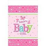 "Amscan Appealing Welcome Little One Girl Paper Table cover Baby Shower Party Supplies, 54 x 102"", Pink/White/Green/Blue"