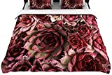 "Kess InHouse 68 by 88-Inch Debbra Obertanec ""Red Succulents"" Fleece Duvet Cover, Twin, Maroon"