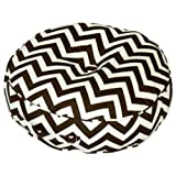Greendale Home Fashions 20-Inch Round Floor Pillow Zig Zag fabric, Brown