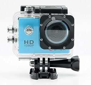 QUMOX Actioncam SJ4000, Action Sport Kamera Camera Waterproof, Full HD, 1080p Video, Helmkamera, Blau
