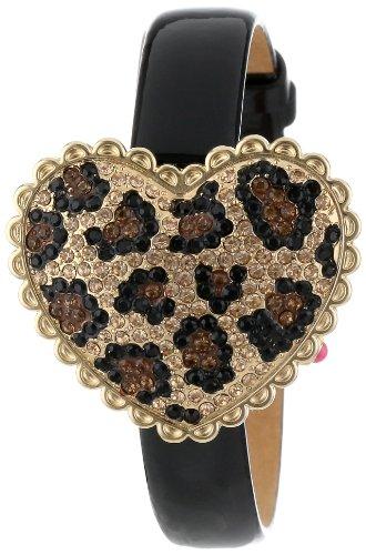Betsey Johnson Women's BJ00201-01 Analog Pave Leopard Pattern Heart Cover Watch