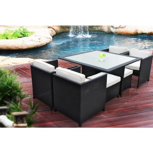 Manhattan 9 Piece Patio Furniture Outdoor Dining Set With Frosted Glass Top image