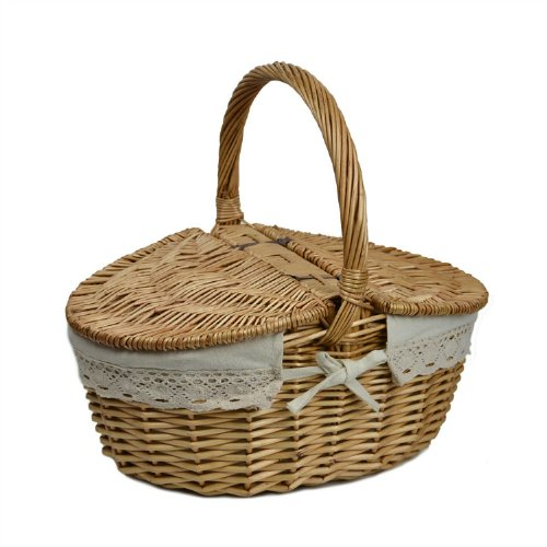 Fantastic Deal! RURALITY Wicker Picnic Basket Hamper with Lid and Handle