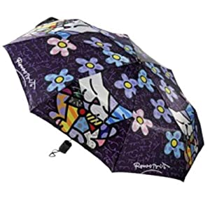 Romero Britto Cat with Flowers Art Umbrella from Gift Corp