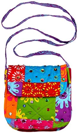 Back From Bali Girls Patchwork Batik Purse With Strap and Sparkly Sequins