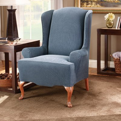 Sure Fit Stretch Stripe Wing Chair Slipcover, Navy front-674939