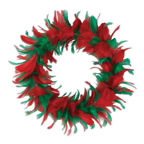 Feather Wreath (red & green) Party Accessory  (1 count)