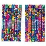 12 x Teacher Reward, Praise Message Pencils for Children, Ideal as Teacher Class Gifts & Prizes