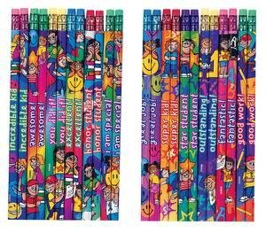 12 x teacher reward praise message pencils for children