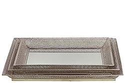 Metal Tray/Mirror Set of Three Designed w/ Crisscross Pattern in Silver