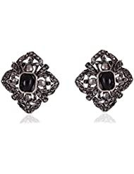 Cinderella Collection By Shining Diva Silver & Black Crystal Stylish Fancy Party Wear Stud Earrings For Girls...