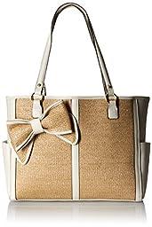 Jessica Simpson Scarlett EW Tote Bag, Natural Straw/White, One Size