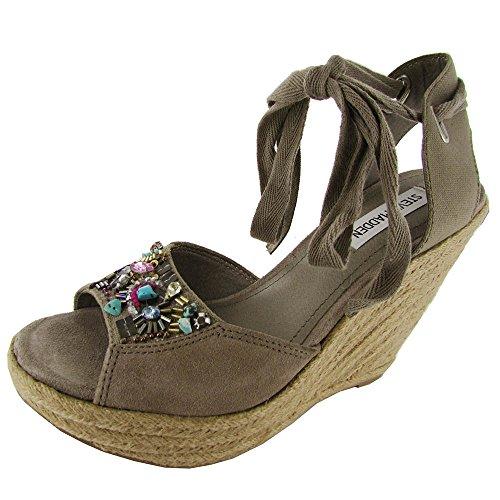 Steve Madden Womens Chryslis Suede Platform Wedge Sandal, Grey Suede, Us 10 front-785753