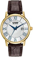 BM6752-02A Gents Citizen Gold Plated Brown Leather Strap Watch