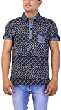 Gravity Men's Cotton Regular Fit T-Shirt (GAM-23, Blue, XX-Large)