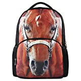 Hynes Eagle Unisex Vivid Animal Print Polyester Backpack -Back to School (Horse)