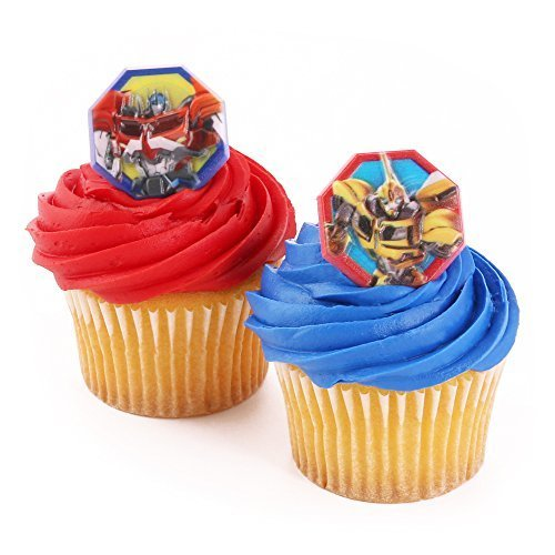 Bakery Crafts - 24 Cupcake Topper Rings, Transformers Officially Licensed