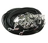 Rockin Beads Brand, 20 Imitation Leather Cord Necklaces Black 18 Inch with Extension Chain and Lobster Claw Clasp
