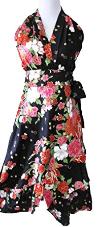 Formal flattering floral halter wrap bridesmaid wedding dress, Black, Size Small