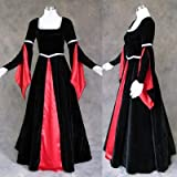 Artemisia Designs Renaissance Medieval Gown Black Velvet And Red Satin 4 X